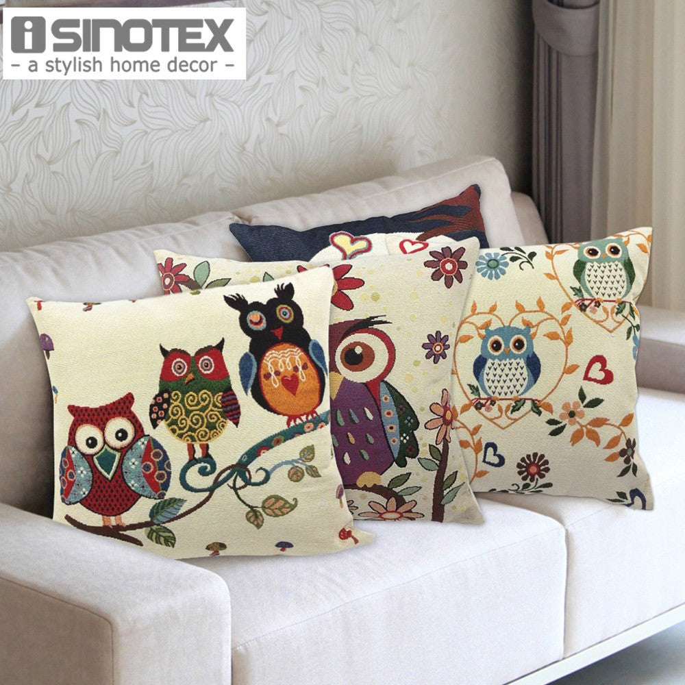 Owl Printed Cushion Cover Home Decor 43x43cm/17x17'' Linen&Polyester Decorative 1Pcs/lot