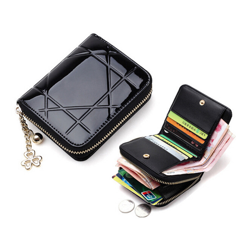 Patent Leather Women Short Wallets Ladies Small Wallet Zipper Roomy Coin Purse Female Credit Card Wallet Purses Money Bag