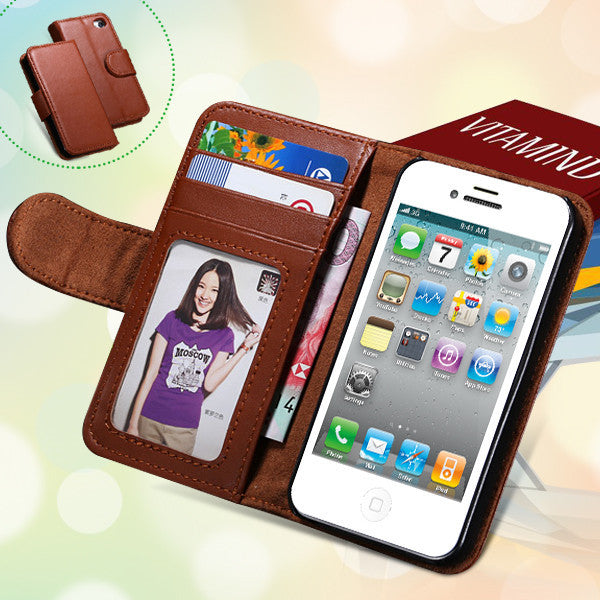 Photo Frame Flip PU Leather Cover Case For Iphone 5 5S 5G 4 4s 4g Carry Wallet With ID Credit Card Slots Stand Holder