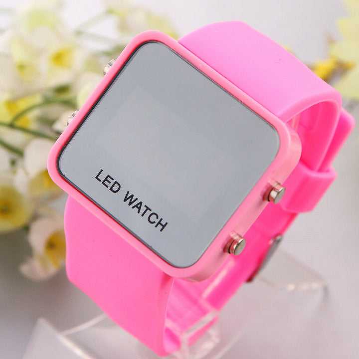 Unisex Mirror LED Watch Rubber Strap digital hours Casual watch Men women sports watches