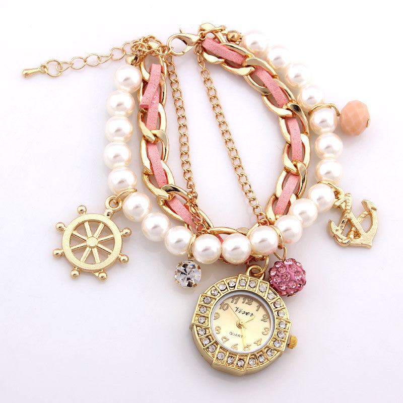 Fashion Bracelet Wristwatches Women Rhinestone Watches Alloy Case Analog Acrylic Watch