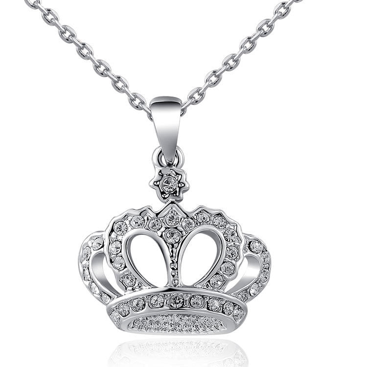 Gift Classic Crown Pendant Necklace Rose Gold/platinum Plated 100%hand Made Fashion Women Jewelry Crystal
