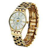 opular Brand New Quartz Watch Unique Gold Stainless Steel Band Analog Display Relogio Women Wristwatches For Ladies