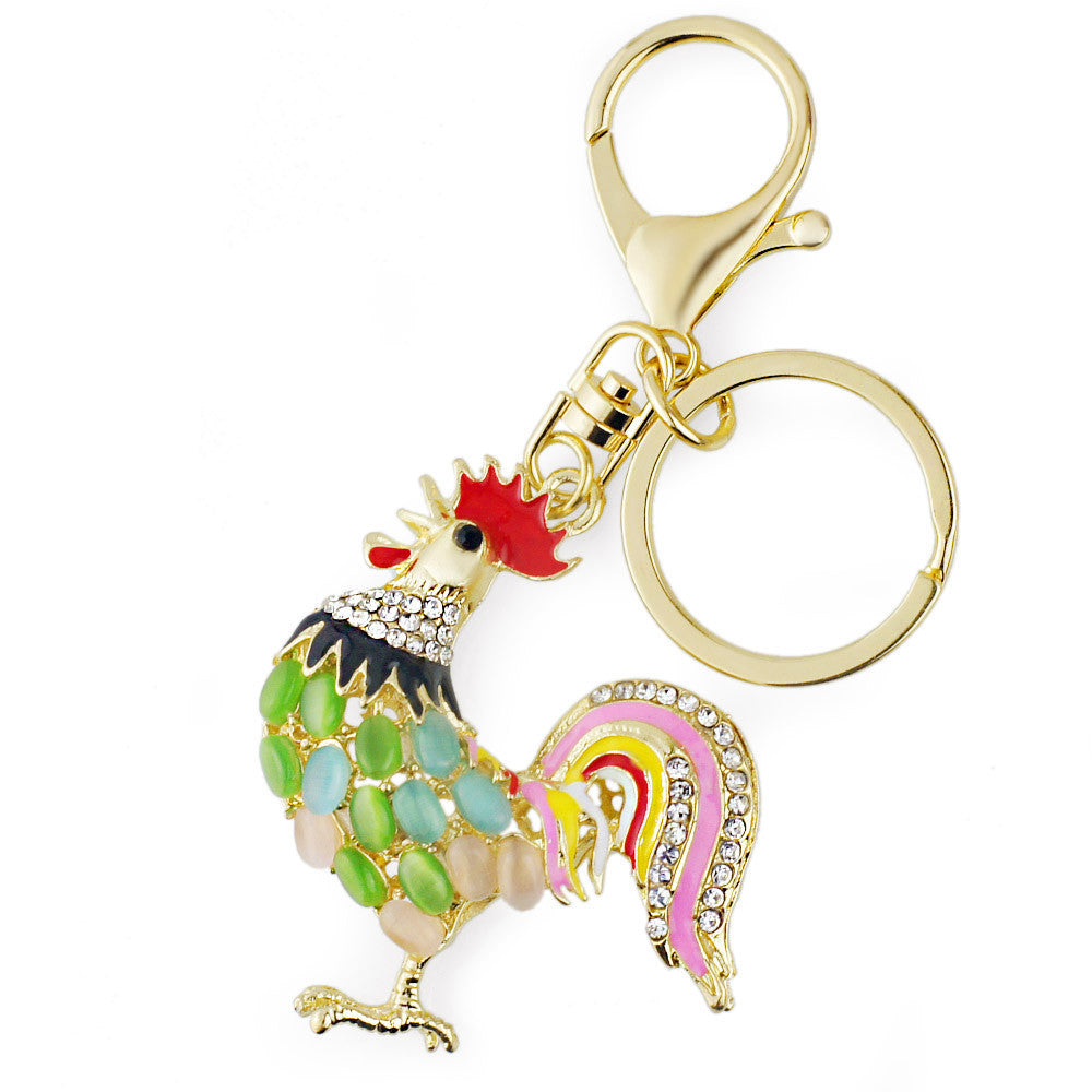 Pretty Chic Opals Chicken Keychains Crystal Bag Pendant Key ring Key chains Christmas Gift Jewelry Llaveros