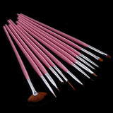 Professional 12Pcs UV Gel Pen Brush Nail Art Acrylic Brush Pen Dotting Draw Paint Tool Set Pink Nail Art Brush