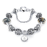 Antique 925 Silver Charm Bangle & Bracelet with Love and Flower Crystal Ball for Women Wedding
