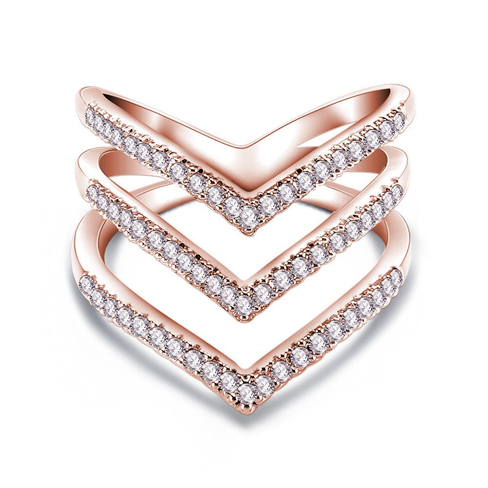 Fashion Ring Rose Golden Plated Micro CZ Diamond Fashion Three V Shape Ring for Women