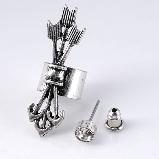 Fashion jewelry Punk Earcuff Cool Arrow Unisex Vintage Silver tone Clips on Earring for women Earrings Ear Cuff Clipe