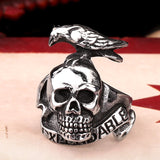 Punk Style Expendable Ring For Men 316L Stainless Steel Bird On Skull Ring Jewelry
