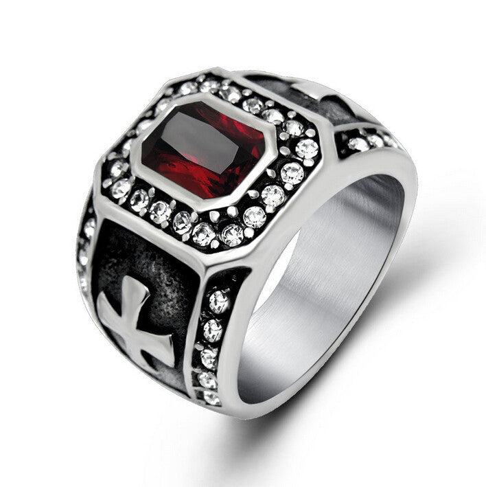 Punk Real Stainless Steel Ruby Men Ring Big Red Stones Finger Rings For Man High Quality Mens Rings Male Jewelry Accessory Anel