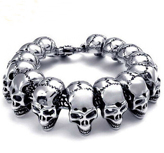 Punk Rock Charm Bracelet Stainless Steel Skull Skeleton Men's Bracelets & Bangles Cool Male Jewelry Wristband
