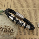 Punk Rock Design Multilayer Leather Man Bracelets Fashion Stainless Steel Magnet Buckle Cool Men Jewelry Rope Chain