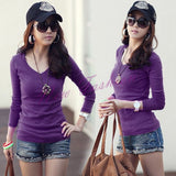 Fashion Women's Girls Basic V-Neck Long Sleeve T-shirt Bottoming Shirt Top