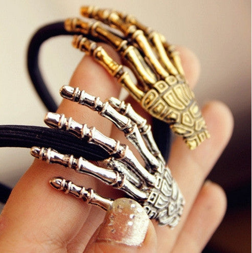 Skeleton gripper ghost claws hair bands terror hand bone hair wire rope clip-2pcs/set