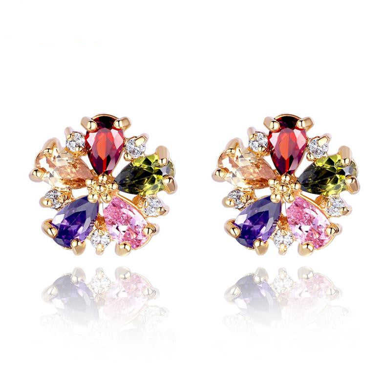 Real 18K Gold Plated Stud Earrings with Colorful Zircon For Girlfriend Gift Luxury jewelry