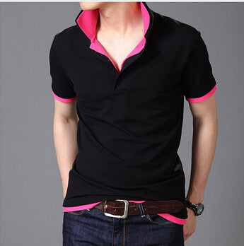 Double collar lapel Wireless Laptop Mens T Shirt men's short Sleeve t shirt slim London brand t-shirt men
