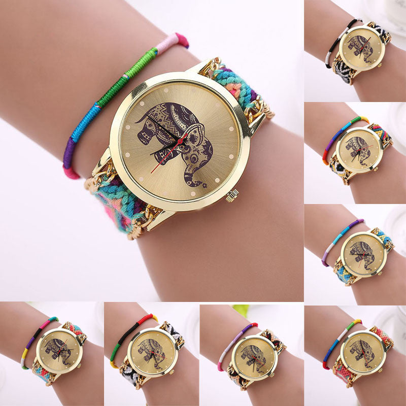Fashion Women Girl Handmade Weaved Braided Elephant Bracelet Dial Quarzt Watch