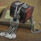 Retro Antique Silver Color Tibetan style Long Coins Boho Necklace Tassel Pendant Necklace for women Jewelry