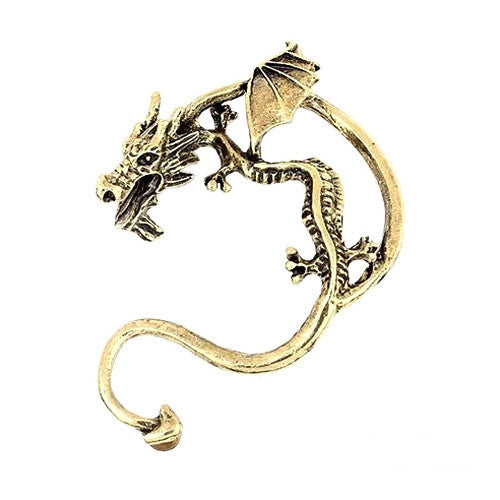 Retro Vintage Black Silver Bronze Punk Temptation Metal Dragon Bite Ear Cuff Clip Wrap