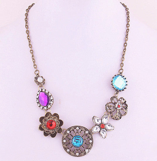 Retro Vintage New Style Gorgeous Austria Turquoise Crystal Flowers Bib Statement Necklace