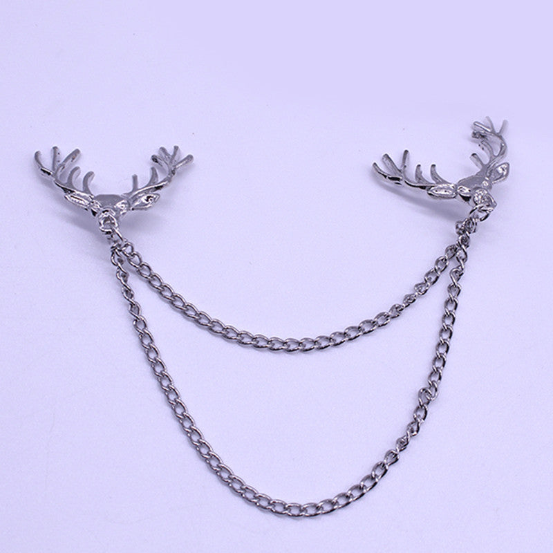 Retro Style Jewelry Good Luck Deer Personalized Brooches For Women Tassel Chain Alloy Collar Pin Brooch