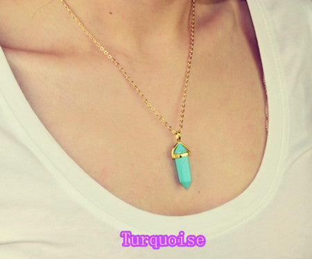 New Fashion jewelry natural quartz stone turquoise agate amethyst pendant necklace Valentine's Day Gifts for women girl