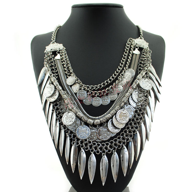 Women Gypsy Necklace Fashion Jewelry Bohemian Antique Silver Coin Necklace Vintage Trendy Turkish Indian Ethnic Necklace