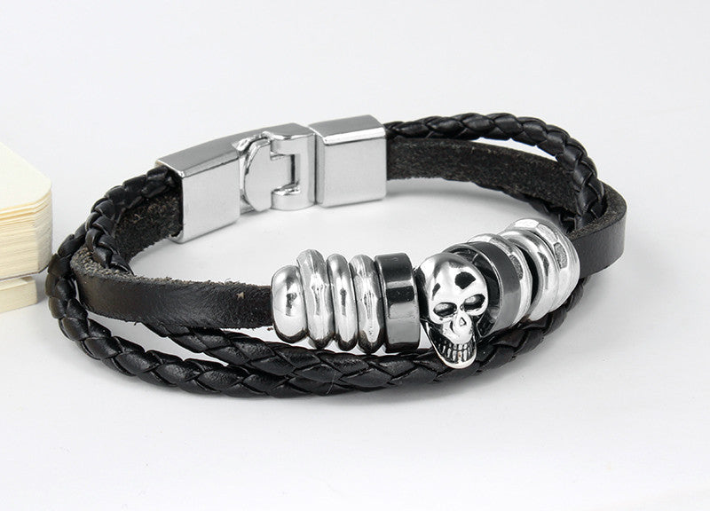 Rock Punk Men Leather Bracelet High Quality Skull Charms Bracelets &Bangles 8.5inches Bracelets