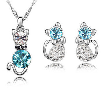 Romantic Engagement Gold Plated Cute Cat Jewelry Sets Necklace Earrings with Austrian Crystal