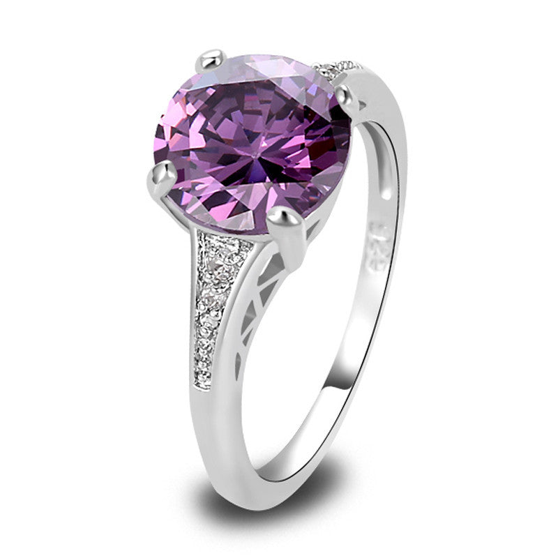 Romantic Women Purple Jewelry Chic Round Cut Purple Amethyst Silver Wedding Ring