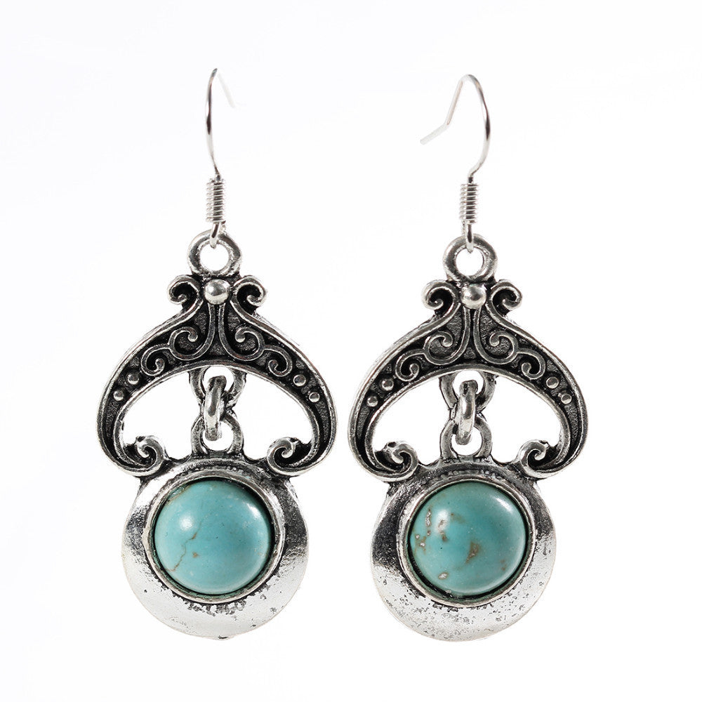 Romatic Turquoise Earrings for Women Fashion Flower Oval Earrings in Jewelry Vintage Silver Color Earrings