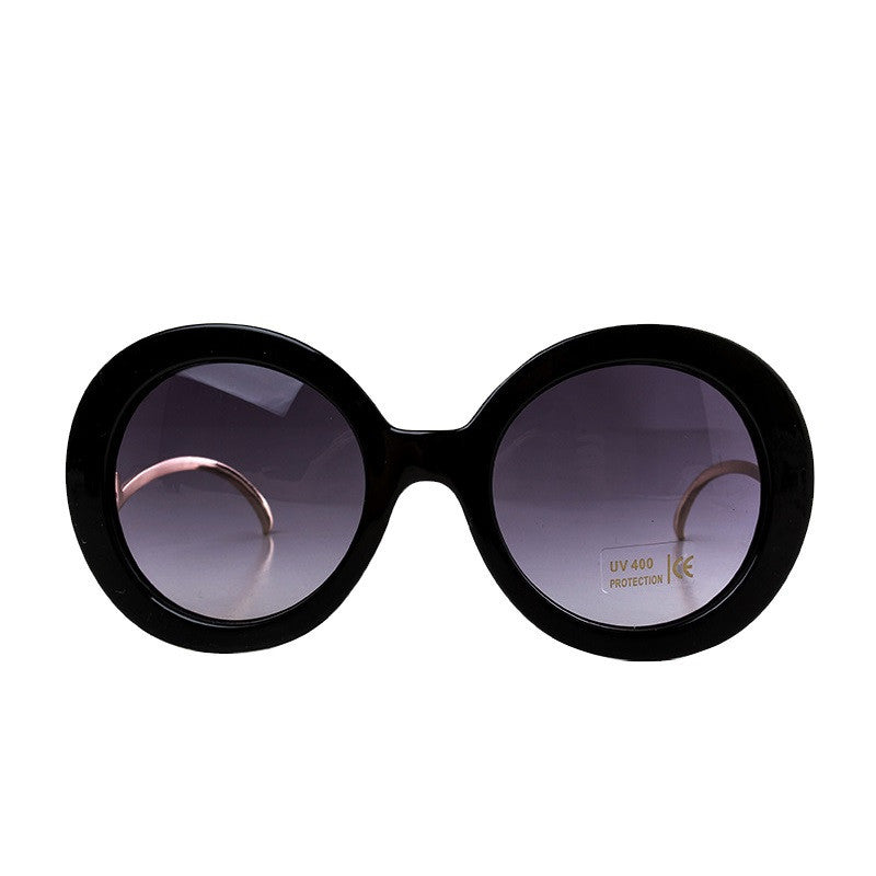 Round Big Frame Fox Metal Temple Glasses New Vintage Baroque Fashion Summer Cool Sunglasses Women Brand Designer shades