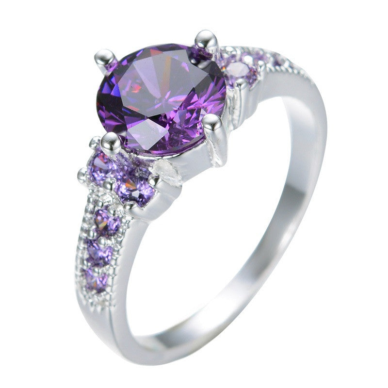 Round Amethyst White Gold Filled Ring Lady's 10KT Finger Rings For Women Fashion Sapphire Jewelry