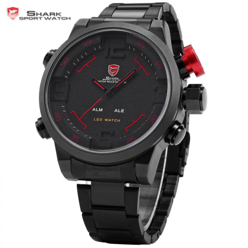 SHARK Sport Watch Analog Digital LED Stainless Full Steel Black Red Date Day Alarm Men's Outdoor Quartz Military Watches