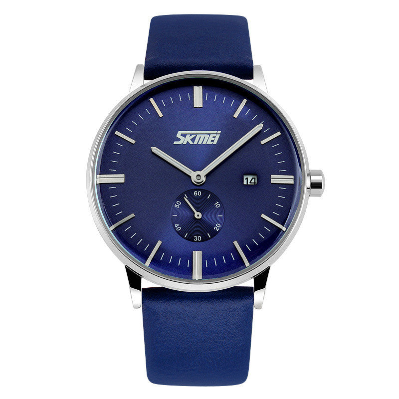 SKMEI New Style Genuine Leather Band Analog Display Date Men's Quartz Watch Casual Watch Men Wristwatches relogio masculino