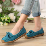 women genuine leather shoes woman lace-up zapatos mujer suede leather lady moccasins spring woman loafers shoes