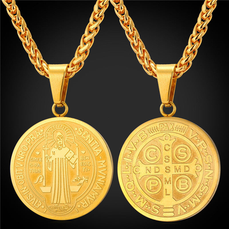Saint Benedict Medal Pendant Necklace Charms Jewelry Gift Round Oval Stainless Steel/Gold Plated Chain Men/Women