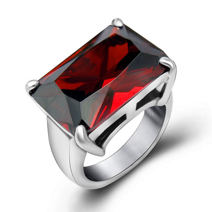 New Ruby Wedding Rings For Women Women Fashion Brand Jewelry Never Fade Stainless Steel CZ Rings Accessories Anelli