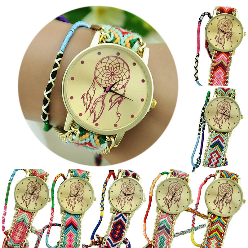 Newest Hot Girls Bracelet Quartz Watch Women Dream Catcher Friendship Women Braid Watches