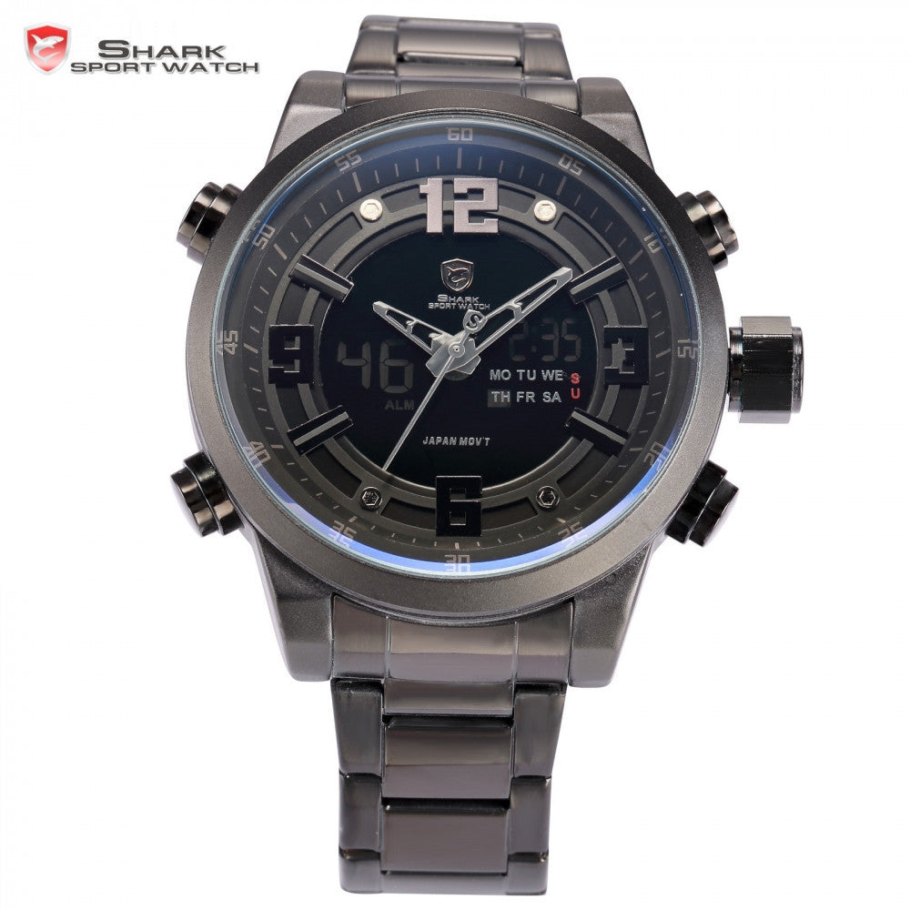 Shark Sport Watch Brand Dual Time Zone Black LCD Dial Alarm Steel Strap Relogio Quartz Digital Military Men Wristwatch