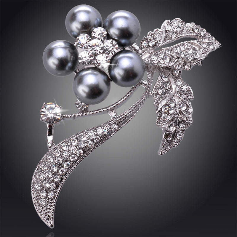 Silver Black Pearl Flower 18K Silver Plated Austrian Crystal Brooches&Pin For Women Fashion Jewelry