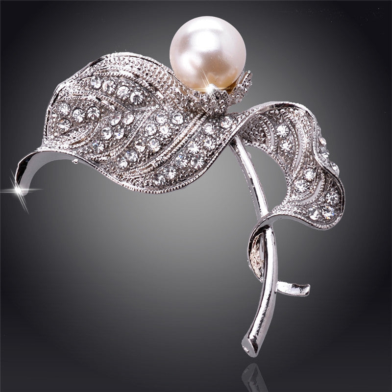 Silver Crystal Large With Pearl Austrian Crystal 18K Gold Plated Brooches&Pin For Women Fashion Jewelry