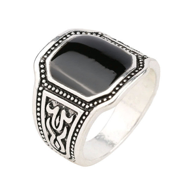 Silver Fashion Enamel Men Jewelry Big Size Black Finger Ring for Men