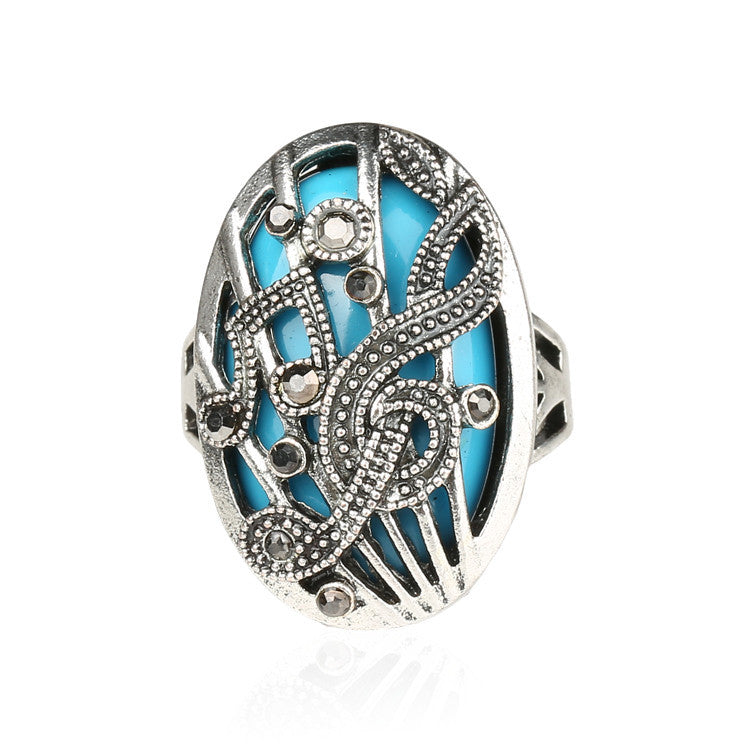 Silver Jewelry Punk Tibetan Silver alloy Wrapped High -Quality Music Notation Resin Fashion Rings Hollow Vestidos De Festa