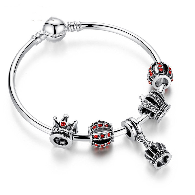 Fashion Simple 925 Silver Charm Bangle & Bracelet with Royal Crown Pendant & Red Crystal Ball Friendship Bracelet