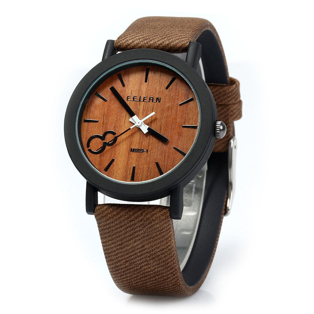 Simulation Wooden Watch Quartz Men Watches Casual Wooden Color Leather Strap Watch Wood Male Wristwatch Relogio Masculino
