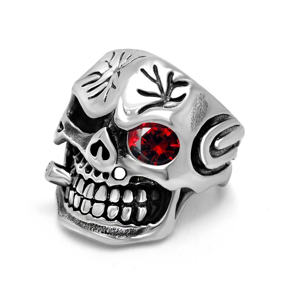 Personality Men's Retro Skull Ring Biker Jewelry Titanium Steel Rings With Red Zircon Eye Bijoux European Style