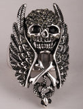 Skull wings cross snake stretch ring for women gothic punk biker jewelry