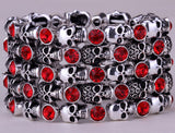 Skull skeleton stretch bracelet for women biker cuff punk halloween crystal jewelry fashion