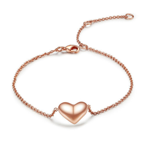 Small Heart Simple OL Style Smooth Rose Gold Plated Bracelet Jewelry Wedding Party Love Gift Wholesale Top Quality